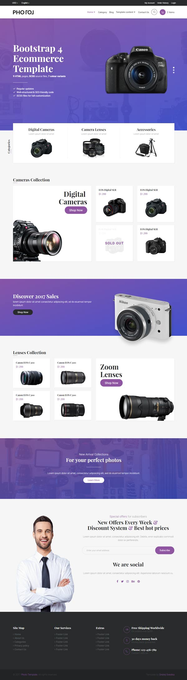 Premium Bootstrap 4 E Commerce Template 11 Pages 6 Colour