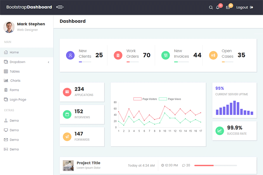 Bootstrap Material Admin Template - 26 pages, 6 colours