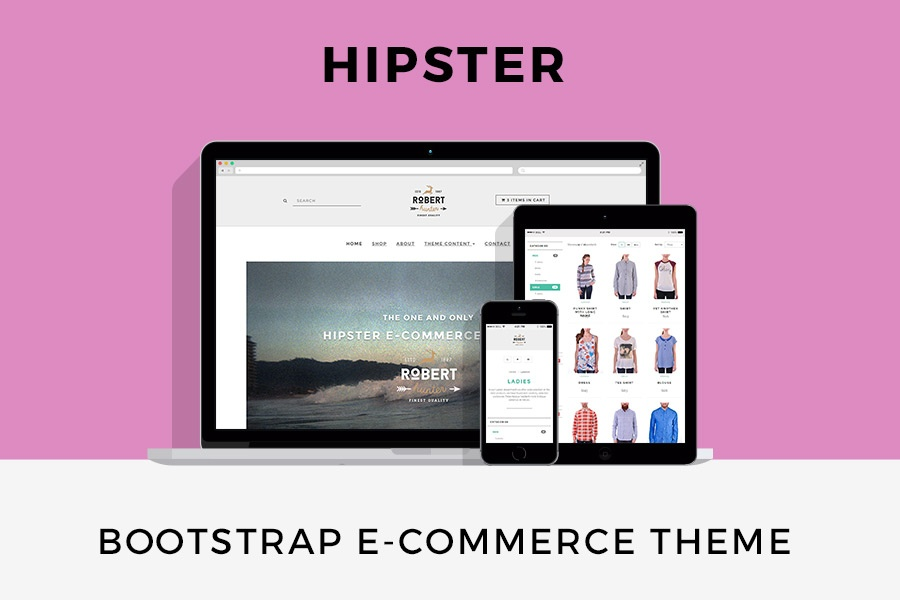 Hipster e commerce theme bootstrap 4 template with sass for Godaddy ecommerce templates