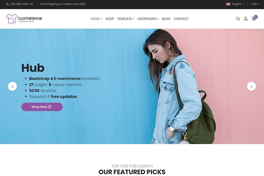 Hub - Bootstrap 4 E-Commerce Template