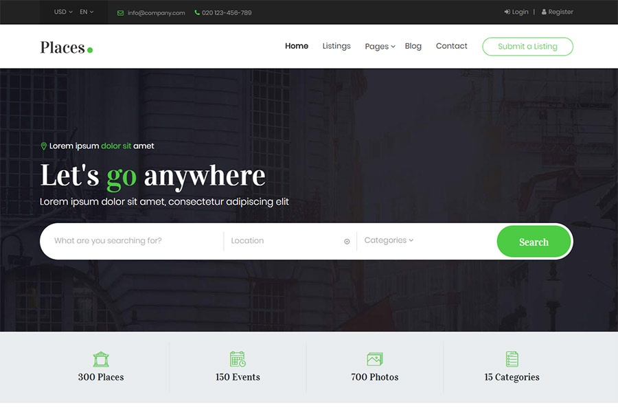 Places - Bootstrap 4 Directory Template
