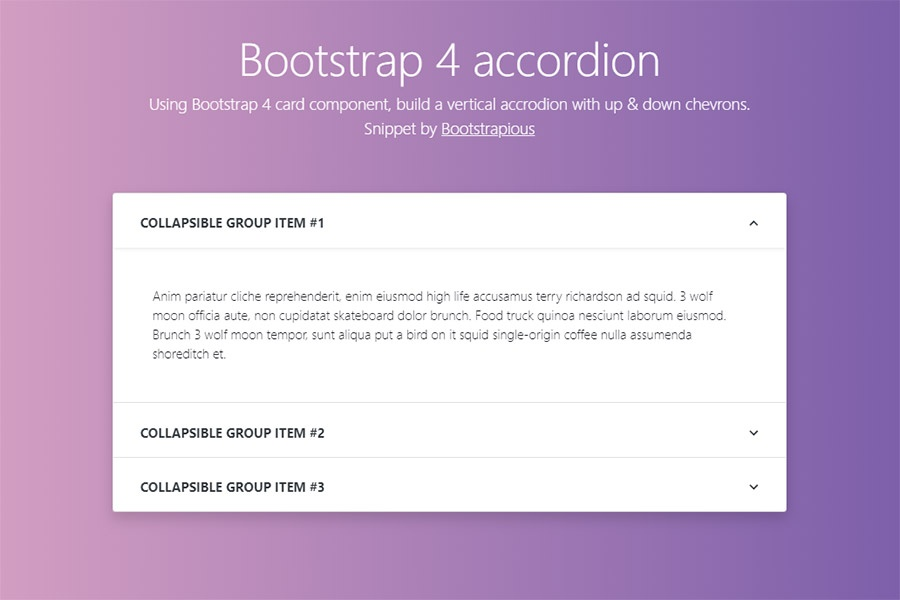 Fancy Bootstrap 4 accordion component - HTML&CSS Snippet