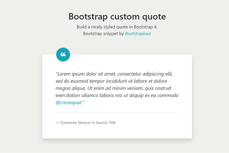 Fancy Bootstrap 4 Quote - HTML&CSS Snippet
