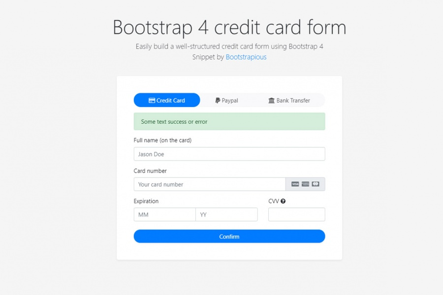 Fancy Bootstrap 4 Credit Card form - HTML&CSS Snippet