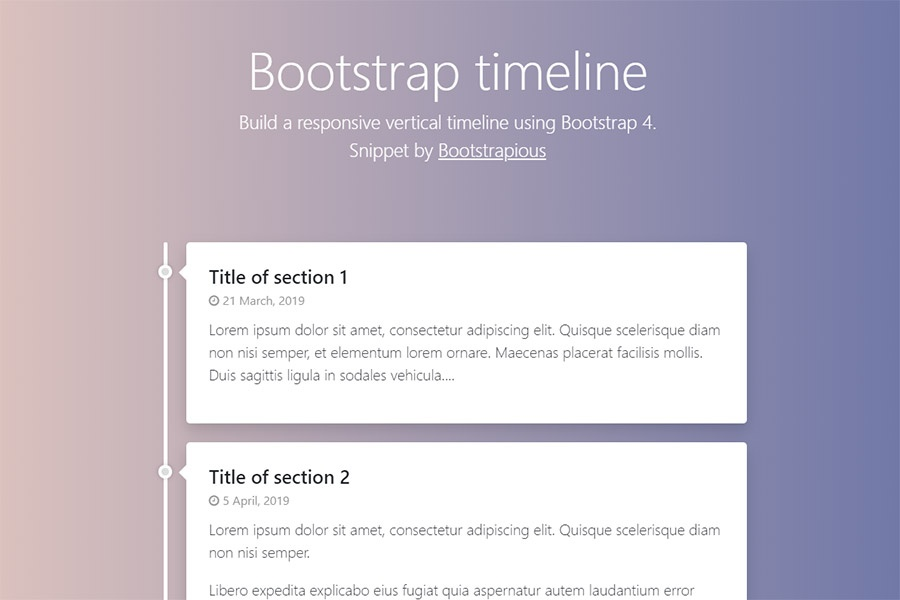 Bootstrap 4 Timeline - HTML&CSS Snippet