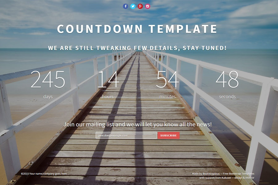 Landing Page Countdown Template Free Bootstrap Templates