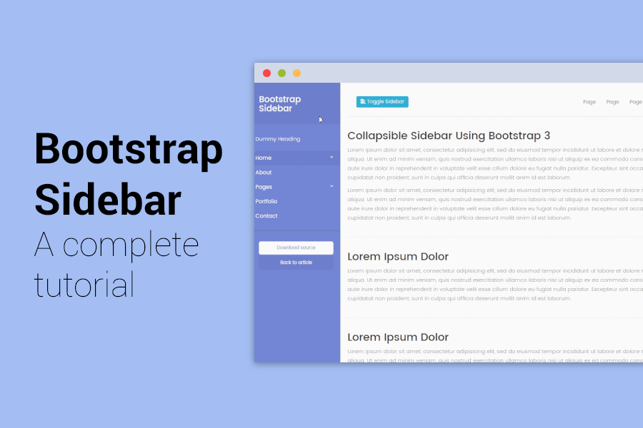 Bootstrap sidebar tutorial step by step tutorial with 5 for Html side menu bar template