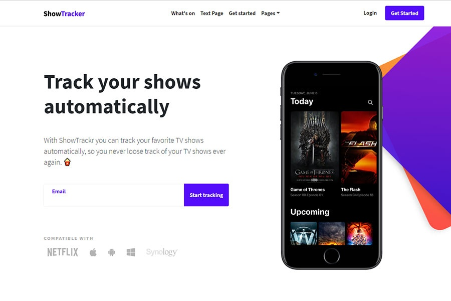 ShowTracker - Landing page