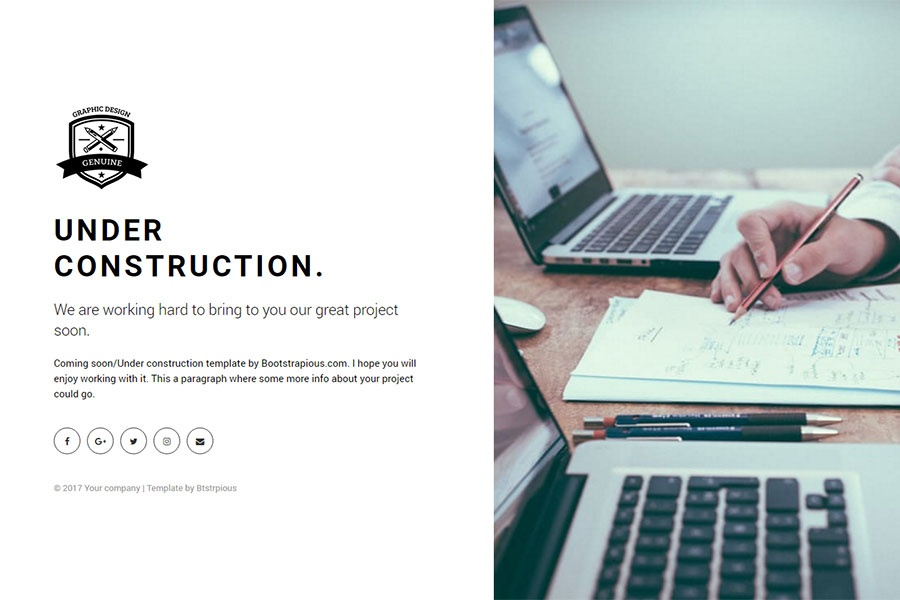 Bootstrap under construction free coming soon bootstrap for Simple under construction html template