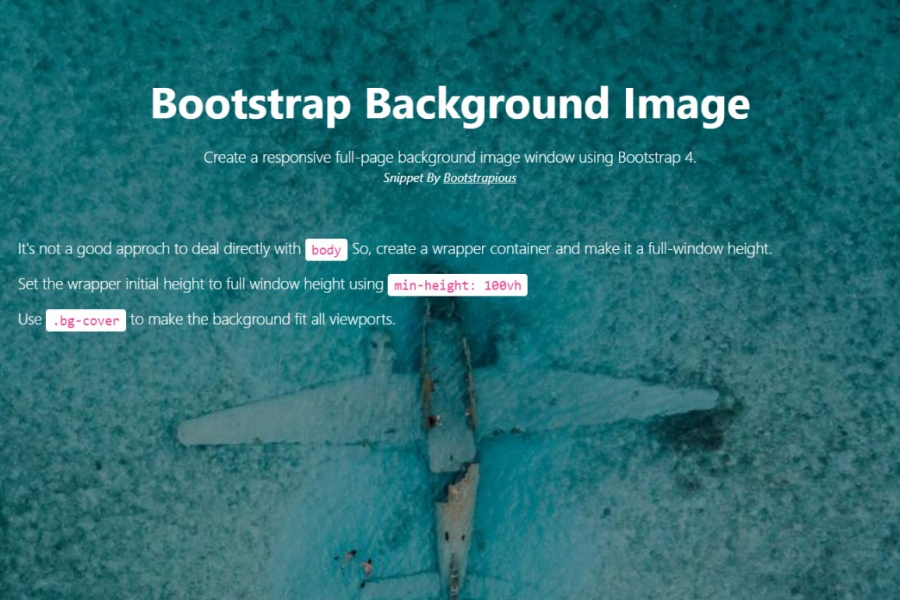 Bootstrap 4 Fullscreen Background Image Html Css Snippet Template
