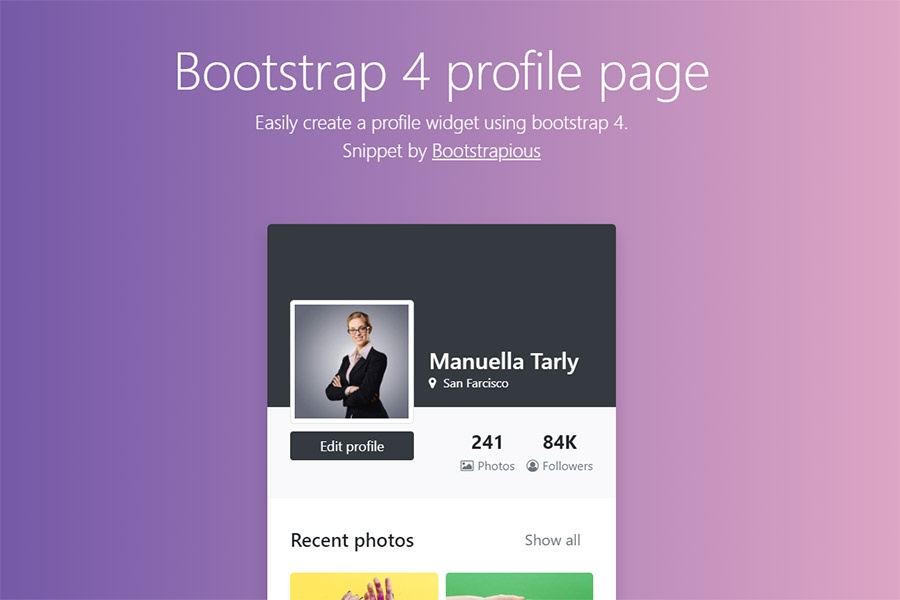 Bootstrap profile page | Free Bootstrap Templates